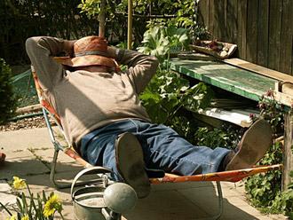 Mann, Schlafen, Garten