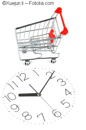 Shopping cart and clock face