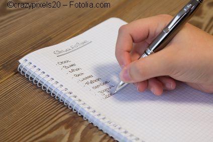Schriftliche Einkaufsliste