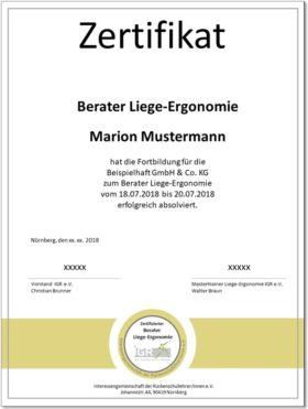 Zertifikat für ausgebildete Berater Liege-Ergonomie