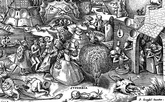 Ein Gemälde von Brueghel zeigt die Todsünde Hochmut, eine edle Dame die sich im Spiegel betrachtet, um Sie herum armes Volk.