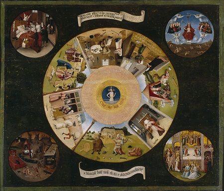 Bild von Hieronymus Bosch das Szenen zu den sieben Todsünden und den letzten vier Dingen (Totenbett, Letztes Gericht, Himmel und Hölle) zeigt