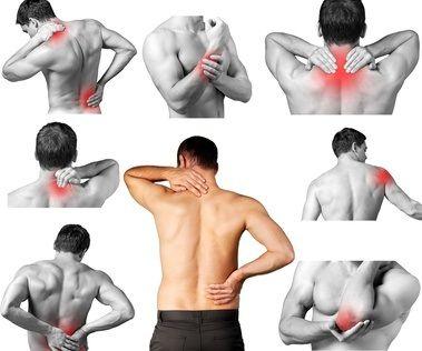 Darstellung verschiedener Schmerzbereiche am Rücken
