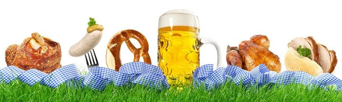 Bilder von verschiedenen typischen Speisen und einem Bier vom Oktoberfest