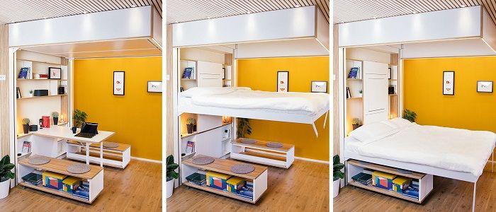 Bett3 Desk mit Esstisch und im runtergefahrenen Zustand