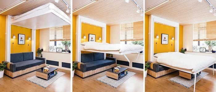 Bett3-darunter mit einem Sofa und Couchtisch