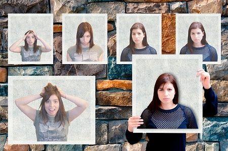 Eine Frau mit unterschiedlichen Gesichtsausdrücken