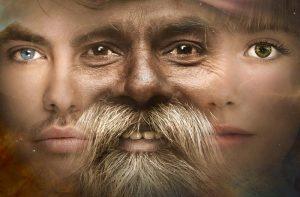 Drei verschiedene Gesichter ineinander verschwommen