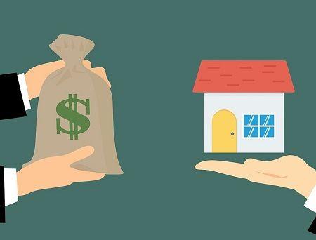 Grafik, Person tauscht einen Sack voll Geld gegen ein Haus