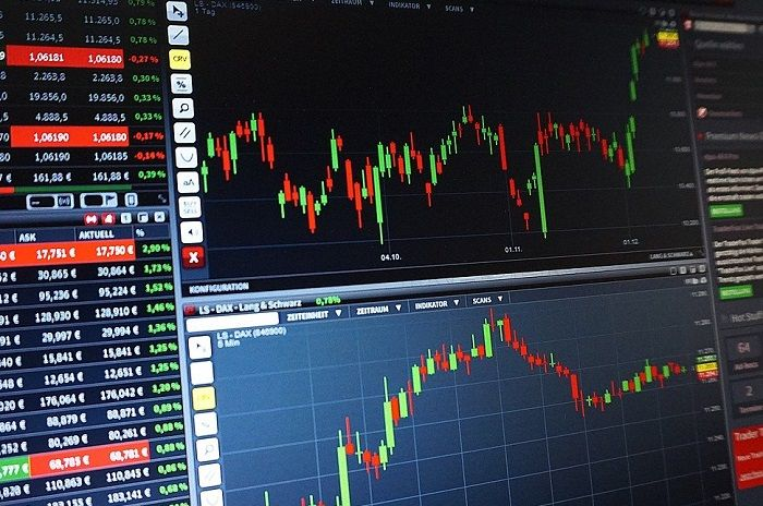 Eine Aktien Chart Tafel mit Aktienkursen