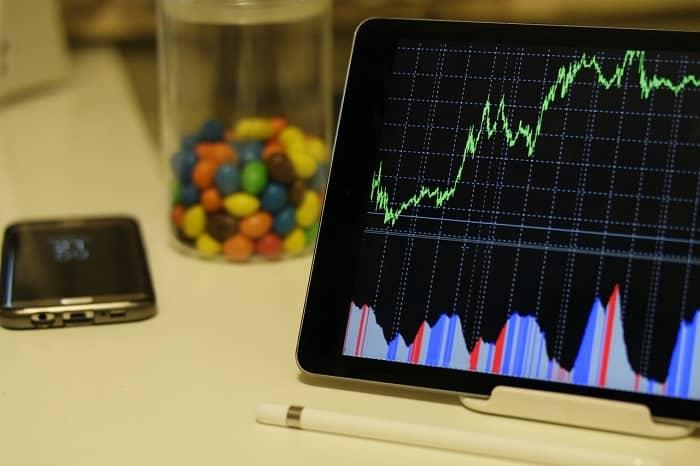 tablett steht am Tisch und zeigt einen Aktienkurs Verlauf