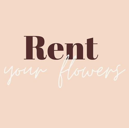 Das Firmenlogo Rent your flowers auf zartrosa Hintergrund