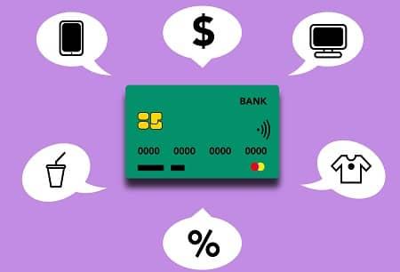 Eine Kreditkarte mit den verschiedenen Zahlungs- und Verwendungsmöglichkeiten wird grafisch dargestellt