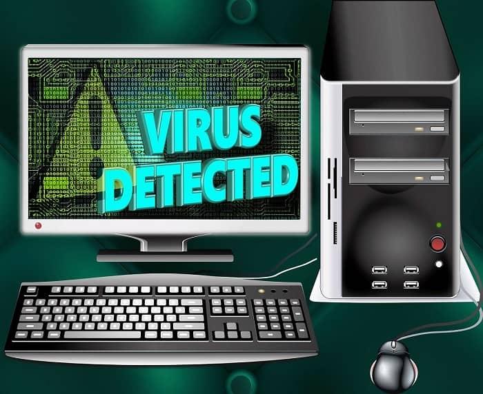 Grafik, eines Bildschirms, auf dem steht: Virus erkannt