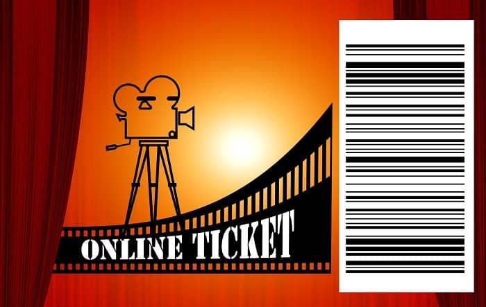 Ein Online Kino Ticket mit einem Barcode drauf