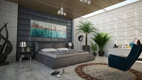 Ein großzügiges Schlafzimmer in Grautönen