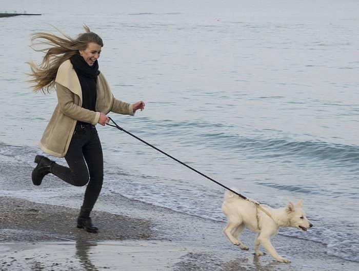 Eine junge Frau hat sehr viel Spaß, Sie läuft mit einem Hund an der Leine am Strand entlang