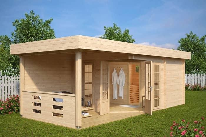 Ein schönes, modernes Gartenhaus mit Sauna, Vorraum und Terasse
