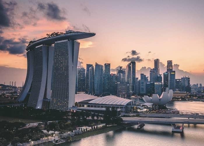 Ansicht des Casino Resorts Marina Bay Sands