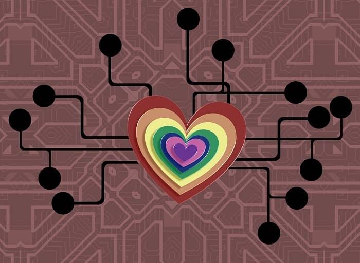 Viele Herzen Inneinander mit Richtungslinien in verschiedene Gebiete auf einer Leiterplatte