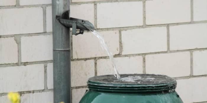 Man sieht ein Dachrinnenfallrohr aus dem Wasser in einen Regensammler eingeleitet wird