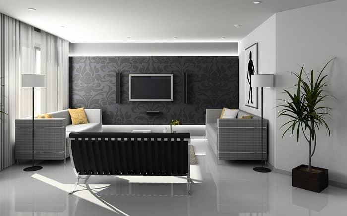 Ein schönes modernes Wohnzimmer in Schwarz/grau Tönen